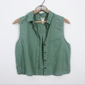 ✨3/20$ Cropped Army Green Button Down Vest